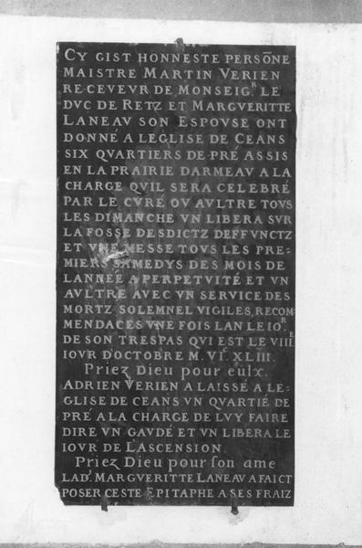 plaque commémorative de fondation de Martin Verien
