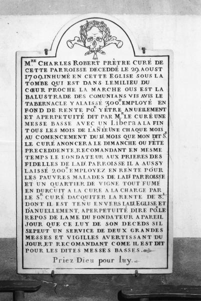 plaque commémorative de fondation de Charles Robert