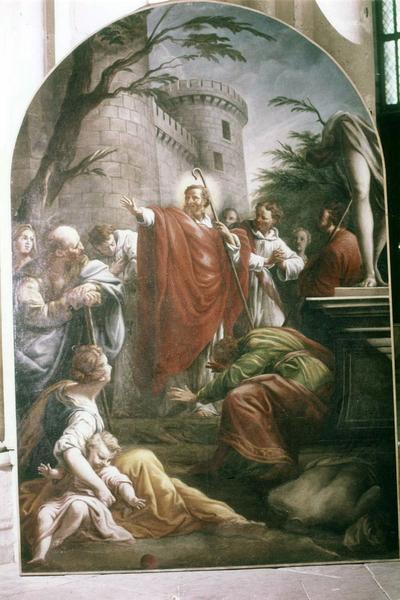 tableau, cadre : saint Pèlerin évangélisant les Auxerrois et renversant leurs idoles