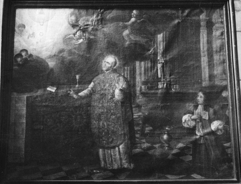 Tableau : Saint évêque disant sa messe et un donateur