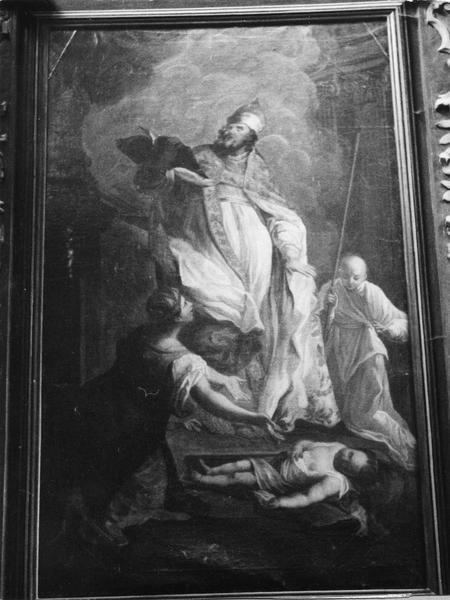 Tableau : Saint évêque (saint Edme?) ressuscitant un enfant