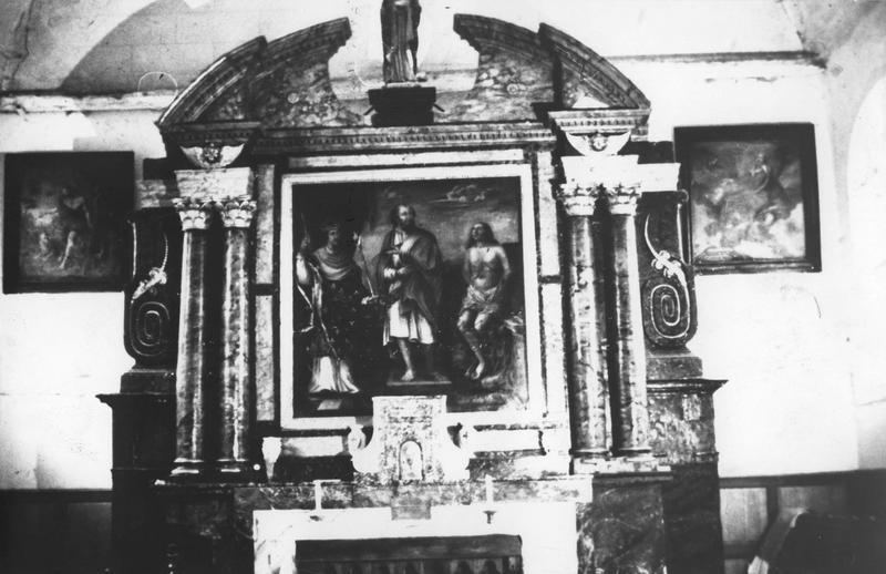 retable, tableau : saint Barthélémy entouré de saint Louis et saint Quentin
