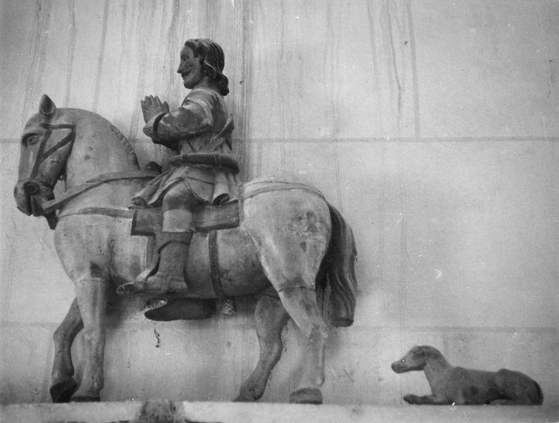 groupe sculpté : Saint Hubert et son chien