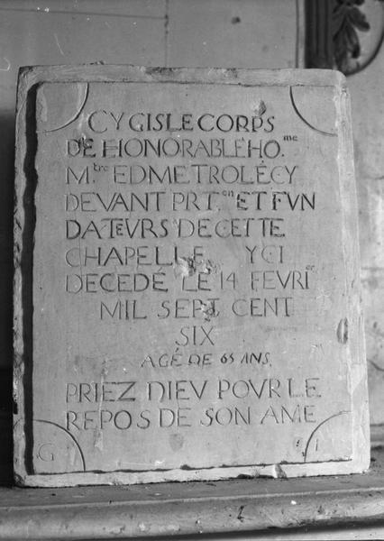 plaque funéraire d'Edme Trolé