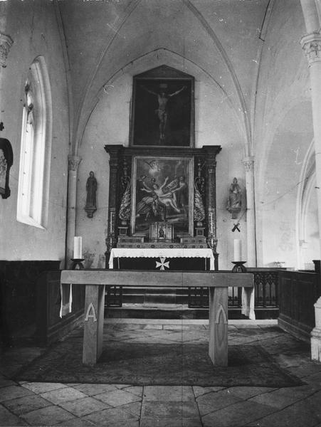 groupe sculpté : Saint Pierre au donateur