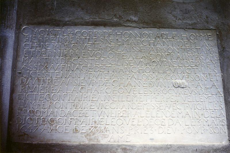 plaque funéraire de Pierre Imbert