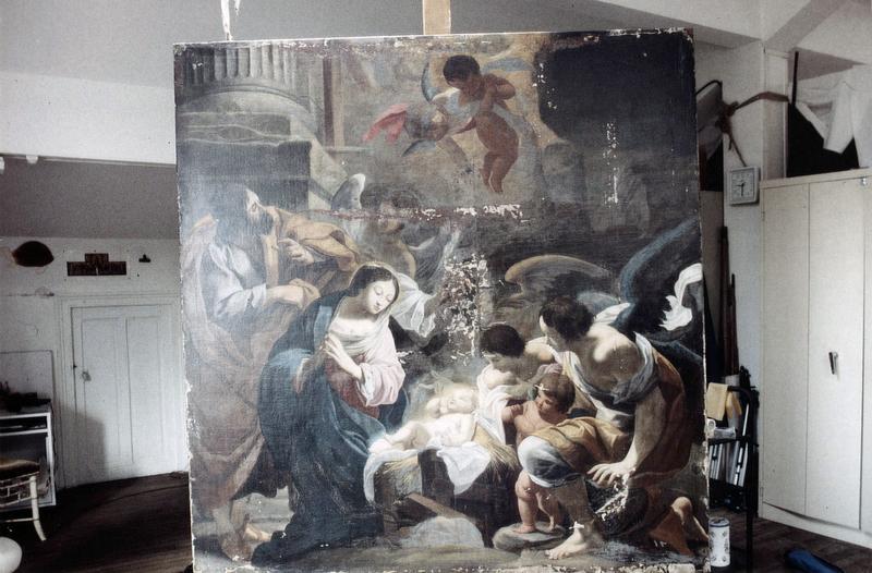 tableau : La Nativité aux anges