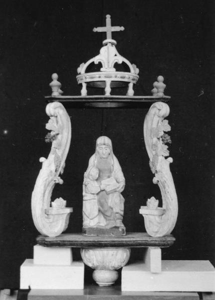 bâton de procession de confrérie : Sainte Anne et la Vierge