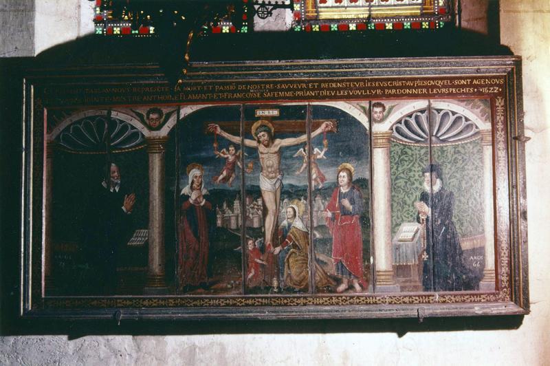 tableau, cadre : Crucifixion et deux donateurs
