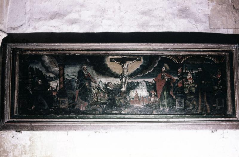tableau, cadre : Crucifixion et saints patrons des donateurs