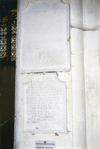Dalle funéraire de François Jacquesson