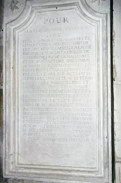 Plaque funéraire d'Antoinette Lévêque, veuve Chipier