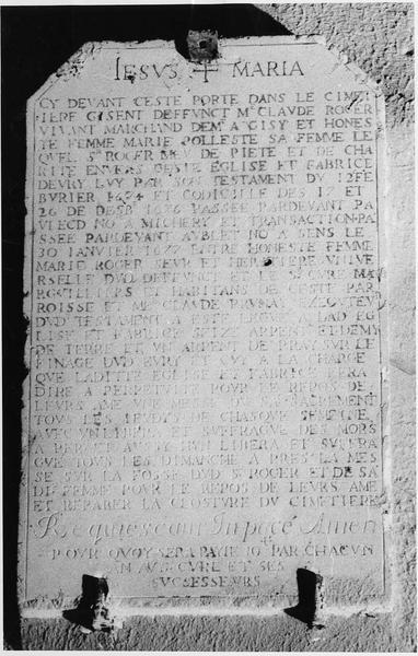 plaque funéraire de Claude Roger et Marie Polièste