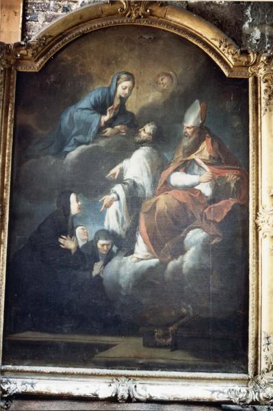 Tableau, cadre : Saint Pierre Fourier présentant les religieuses de Notre-Dame à la Vierge