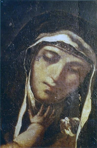 tableau, cadre : Religieuse tenant l'enfant éveillé
