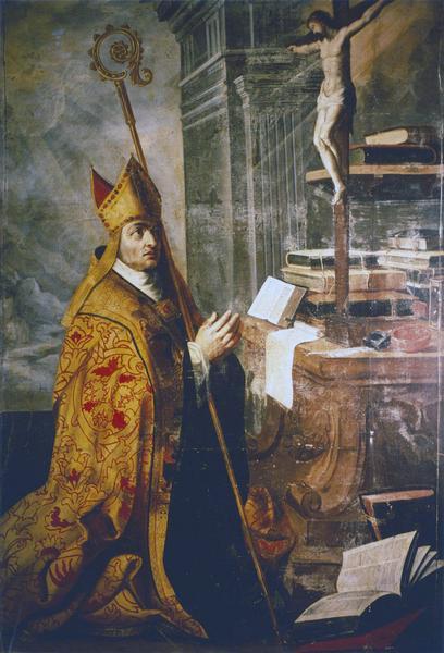 tableau, cadre : Evêque (saint Ambroise ?) en prière