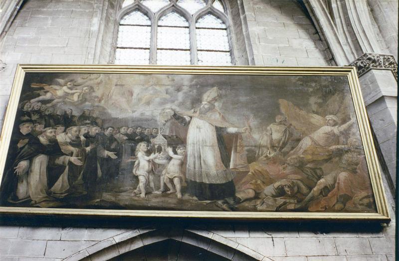 Tableau, cadre : Saint Augustin défendant l'Eglise contre l'hérésie