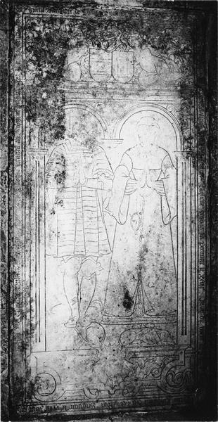 dalle funéraire d'Alexandre d'Edouard, seigneur de Jouancy, balli de Noyers, et d'Anne de Salins, son épouse