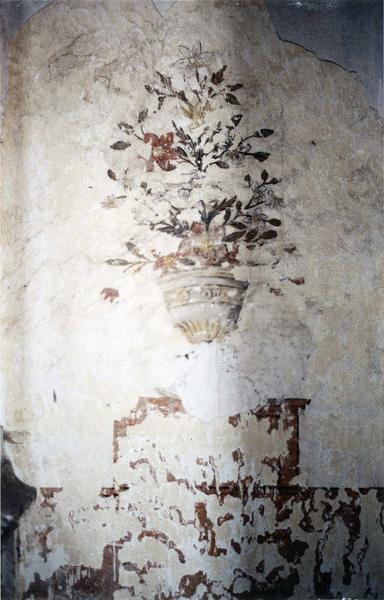 peinture monumentale : Vasque de fleurs posée sur un soubassement