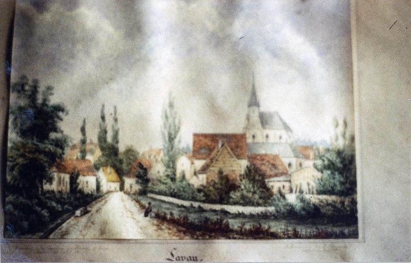 aquarelle : Le Village de Lavau