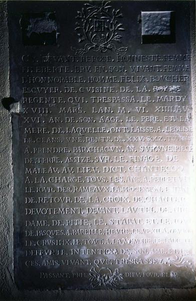 plaque funéraire de Philiberthe Bru, épouse de Félix Boucher