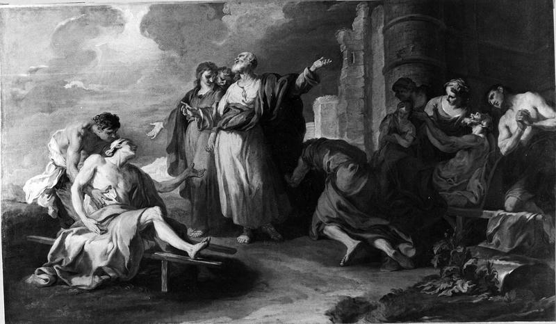tableau : La Guérison d'un paralytique par saint Pierre