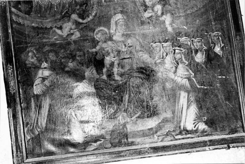 tableau : Vierge à l'Enfant entourée de religieux et de religieuses