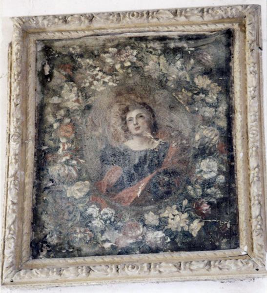 tableau : Vierge entourée d'une couronne de fleurs