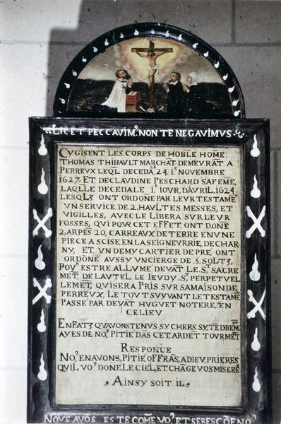 plaque funéraire de Thomas Thibault et Claudine Peschard