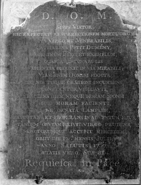 Plaque funéraire de Catherine Petit-Dumeny