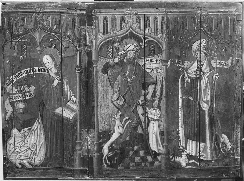 deux volets de polyptyque : Scènes de la vie et de la Passion du Christ, La Descente aux Limbes, saint Thomas, saint Roch et un évêque, La Vierge de l'Annonciation