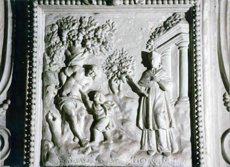 Bas-relief : Le Martyre de saint Sébastien et de saint Charles-Borromée
