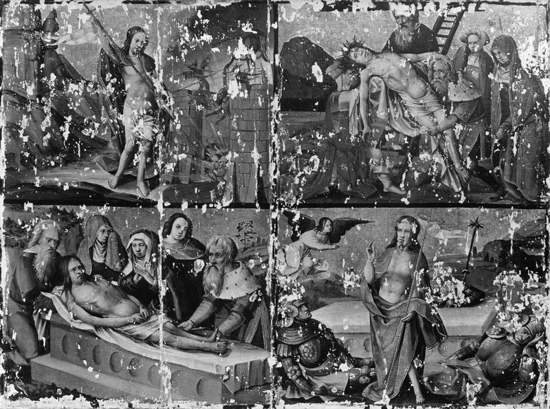 Triptyque : La Crucifixion, Le Christ délivre les âmes des enfers, La Descente de croix, La Mise au tombeau, La Résurrection, Le Baiser de Judas, La Flagellation, La Légende du juif errant, Saint Simon prend la croix du Christ
