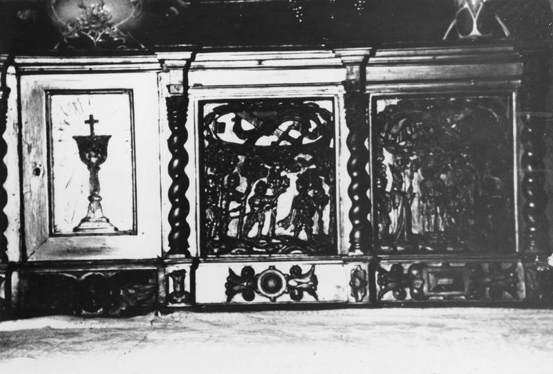 Tabernacle du maître-autel, 4 bas-reliefs : Le Jugement de saint Prix par Alexandre, Le Martyre de saint Prix, L'Arrestation de saint Cot dans un bois, La Découverte du corps de saint Prix et saint Germain