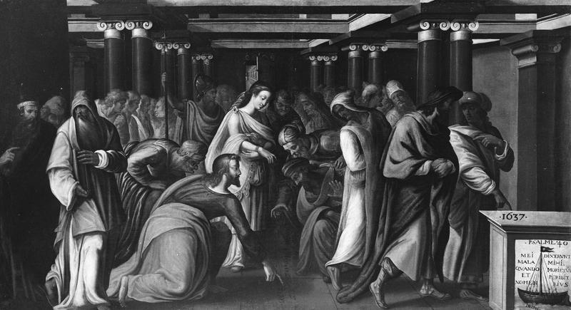tableau, cadre : Scène religieuse dans un portique