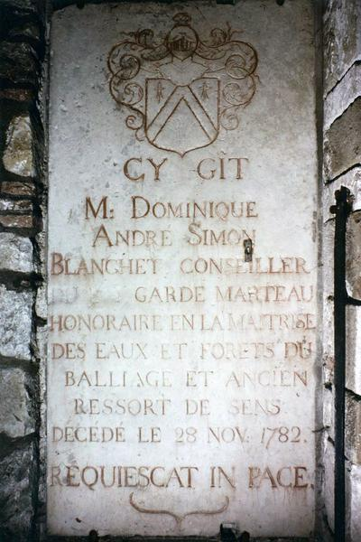 dalle funéraire de Dominique André Simon Blanchet