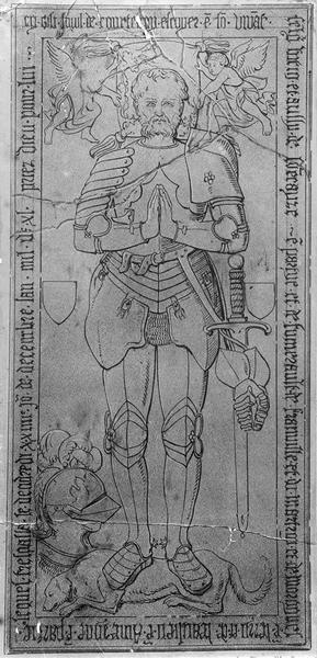 dalle funéraire de Louis de Courtenay, seigneur de Boutin