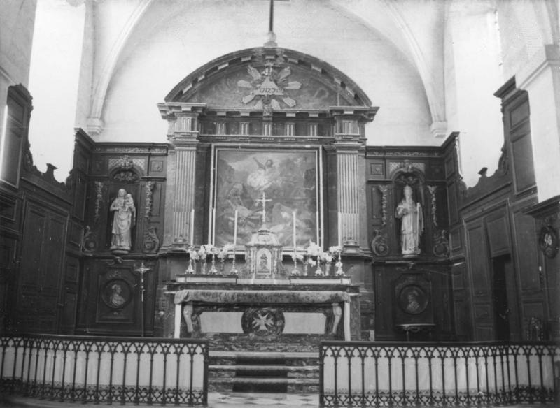 autel, retable, tabernacle, tableau : La Résurrection, deux bas-reliefs (médaillons) : Mater Salvatoris, Salvator Mundi (maître-autel)