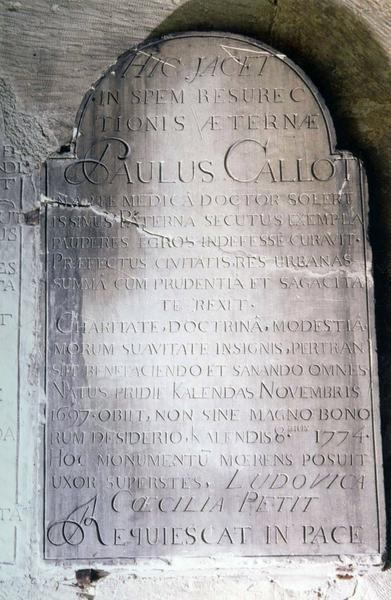 plaque commémorative à la mémoire de Paul Callot