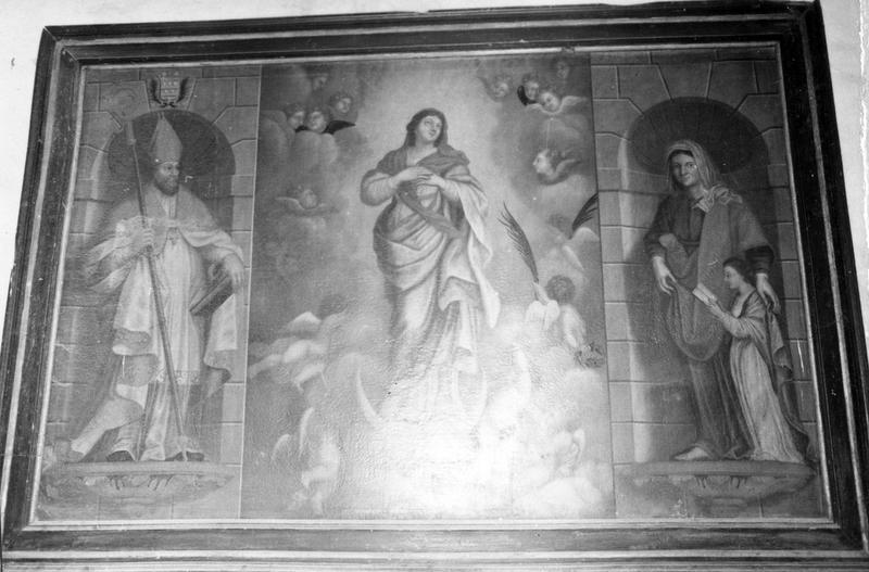 tableau : L' Assomption de la Vierge avec saint Aubin, sainte Anne et la Vierge