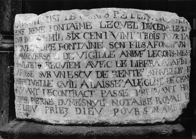 plaque commémorative : épitaphe de René Fontaine