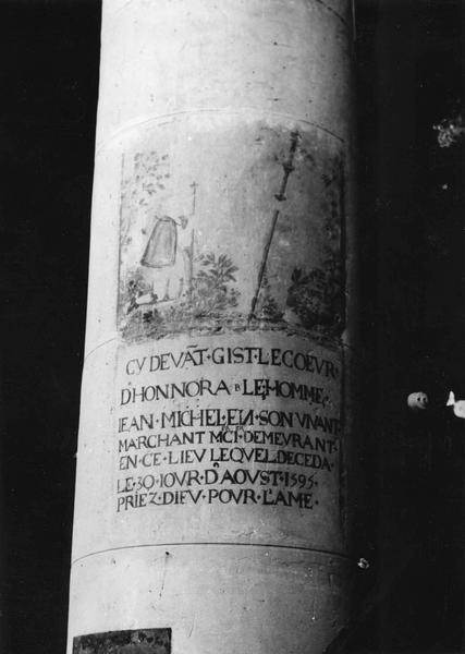Plaque commémorative : épitaphe de Jean Michel, marchand mercier