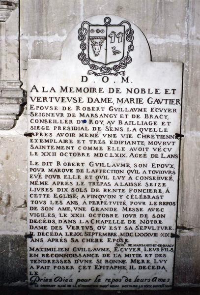 plaque commémorative de Marie Gautier et Robert Guillaume