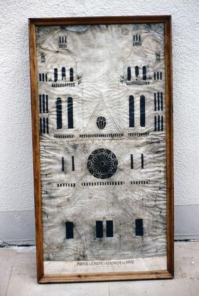 plan du projet de façade de l'église Notre-Dame-de-Villeneuve par Jehan Chereau, maître-maçon à Joigny