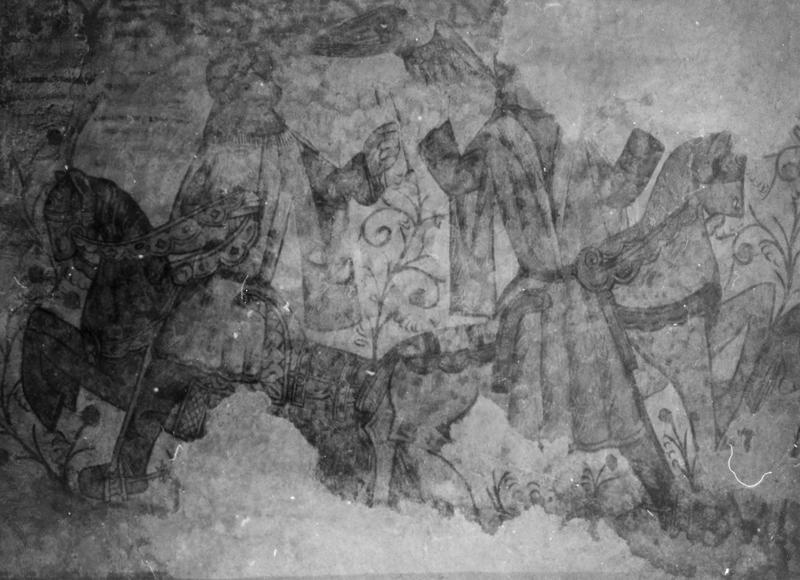 peinture monumentale : Le Dit des trois morts et des trois vifs, saint Benoît ressuscitant un enfant, détail