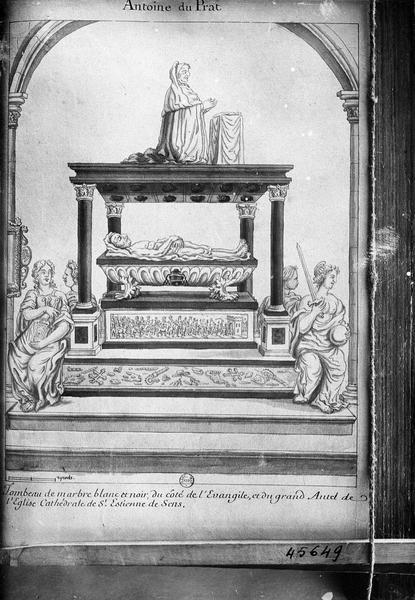 relevé du gisant du tombeau du cardinal Duprat