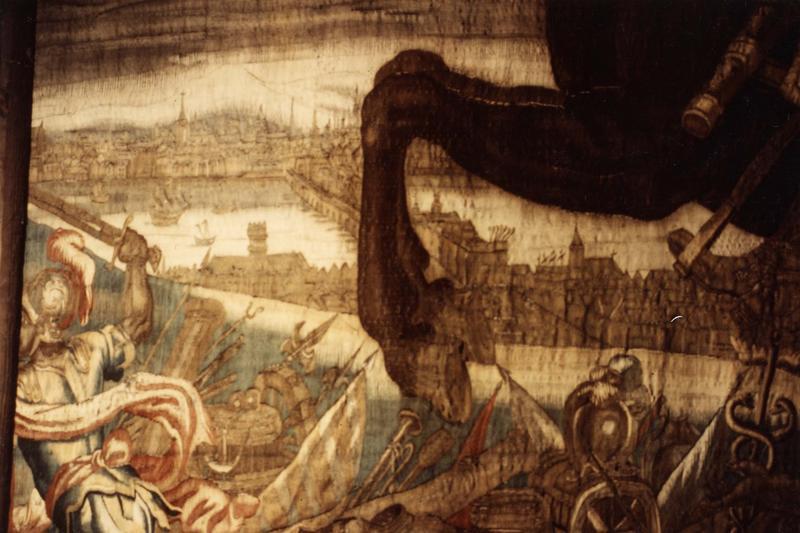pièce murale (tapisserie à bordure à tableaux) : Louis XIII sur son cheval marron, détail