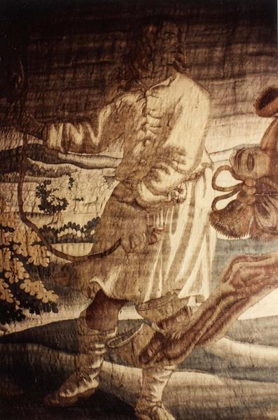 Pièce murale (tapisserie à bordure à tableaux) : Louis XIII à cheval franchit une rivière