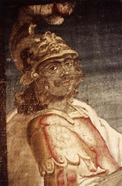 pièce murale (tapisserie à bordure à tableaux) : Louis XIII sur un cheval blanc, détail