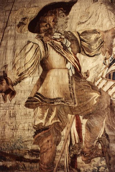Pièce murale (tapisserie à bordure à tableaux) : Louis XIII apprend à monter à cheval